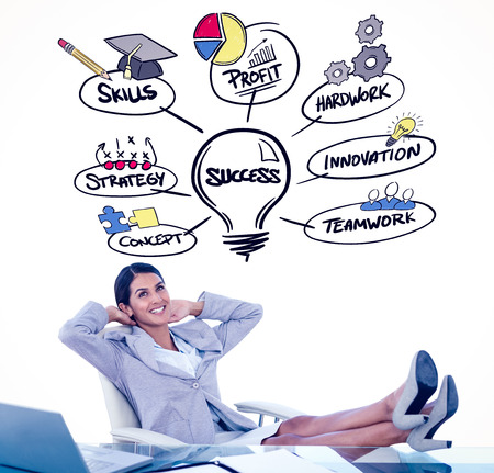 swivel chair: Businesswoman relaxing in a swivel chair against success doodle