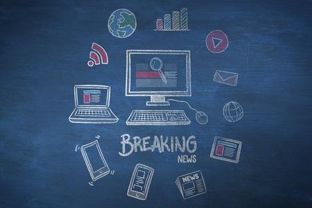 breaking: breaking news doodle against blue chalkboard
