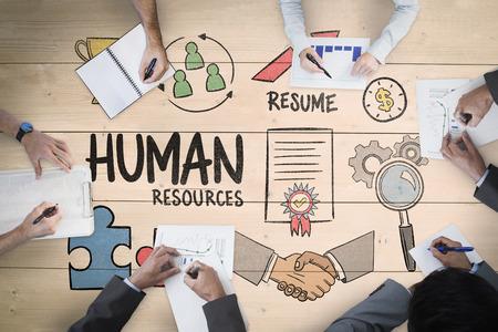 recursos humanos: Reunión de negocios en contra de los gastos generales de tablones de madera