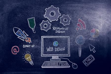 web design: web design against black background