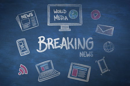 breaking news: breaking news doodle against blue chalkboard