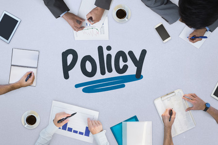The word policy against business meeting Stok Fotoğraf