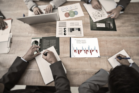 indian business man: Brainstorm graphic against business interface with graphs and data Stock Photo