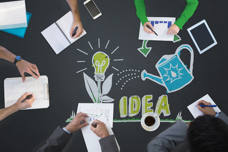 fostering: Business meeting against nurturing an idea Stock Photo