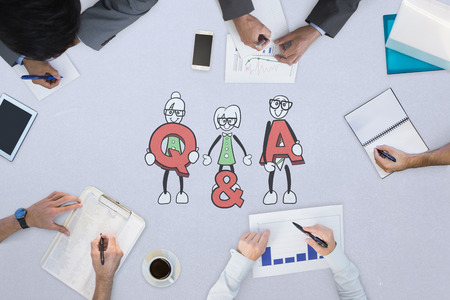 cute cartoons: Business meeting against cute cartoons holding q and a