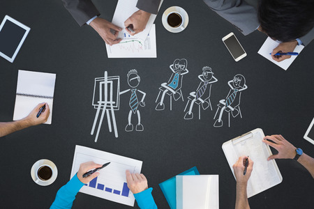 cute cartoons: Business meeting against cute cartoons at presentation Stock Photo
