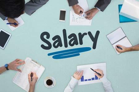 The word salary against business meeting