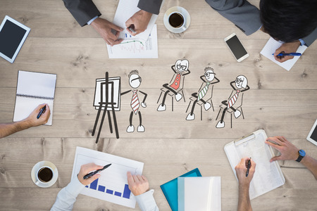 bleached: Business meeting against bleached wooden planks background Stock Photo