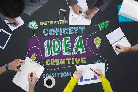 buzzwords: Business meeting against idea buzzwords