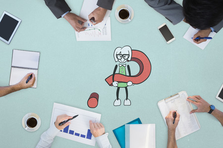 mid adult men: Business meeting against cute character with question mark Stock Photo