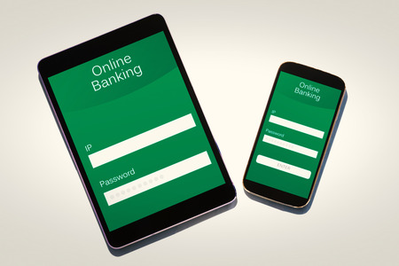online banking: Online banking against tablet and smartphone