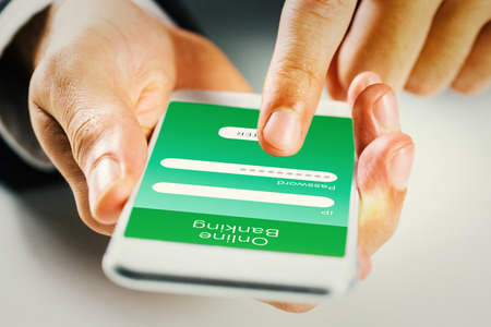 online banking: Man using smartphone against online banking