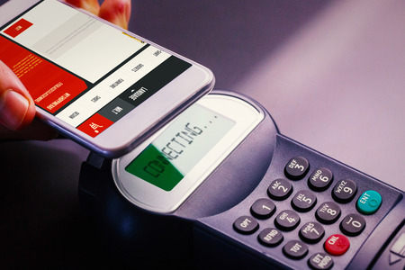 website design against mobile payment Stock Photo
