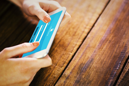 online banking: Woman using smartphone against online banking