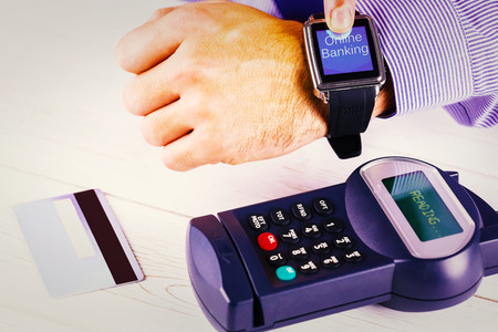 Online banking against man using smart watch to express pay
