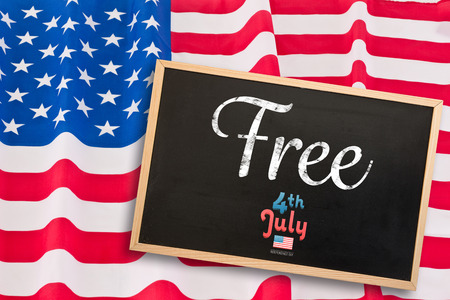 star spangled: Independence day graphic against blackboard with copy space Stock Photo