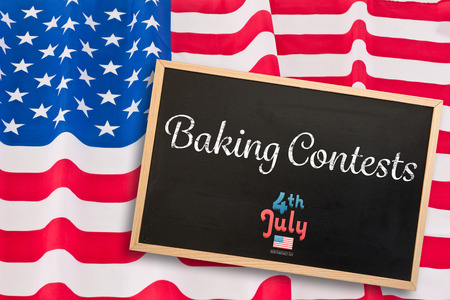 spangled: Independence day graphic against blackboard with copy space Stock Photo