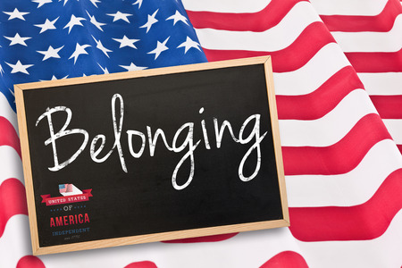 belonging: Independence day graphic against blackboard with copy space Stock Photo