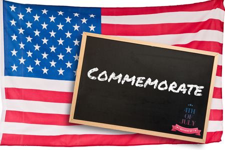commemorate: Independence day graphic against blackboard with copy space Stock Photo