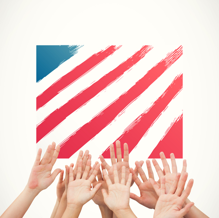 raise the white flag: People raising hands in the air against white background with vignette