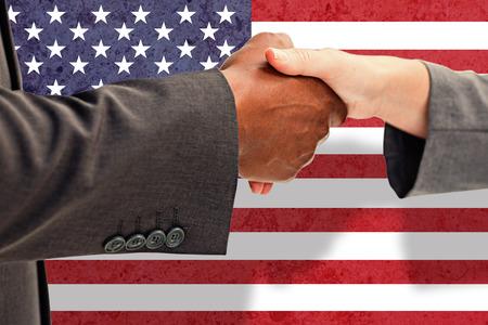 Handshake business: Business handshake against marble surface