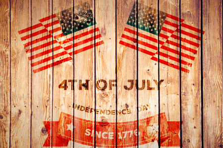 Independence day graphic against wooden planks background