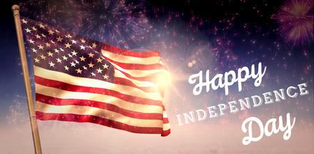 independencia: Gr�fico d�a de la Independencia contra la explosi�n de fuegos artificiales de colores sobre fondo negro