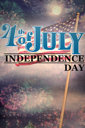 spangled: Independence day graphic against colourful fireworks exploding on black background Stock Photo