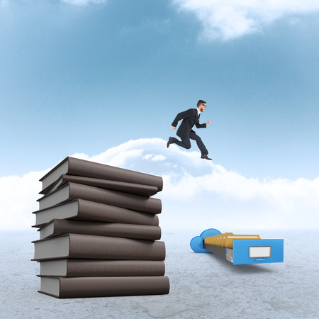 mid air: Geeky young businessman running mid air against cloudy sky background