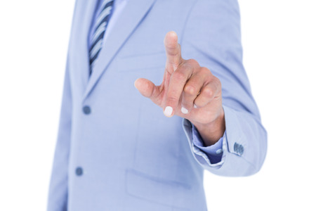 turned out: Handsome businessman gesturing with hands on a white background