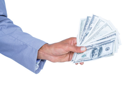 restraining device: businessman holding bribe on white background