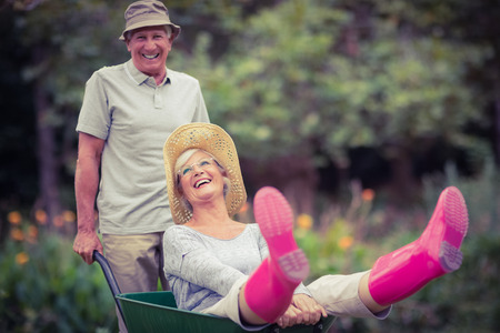 beautiful garden: Happy senior couple playing with a wheelbarrow in a sunny day Stock Photo