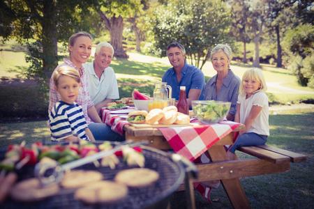 quincho: Familia feliz que tiene comida campestre en el parque en un d�a soleado Foto de archivo