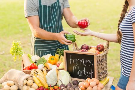 agricultor: Farmer dando pimienta al cliente en un día soleado