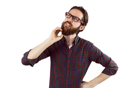 white beard: Handsome hipster thinking and scratching beard on white background Stock Photo