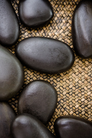 black stones: A piles of black stones at spa center