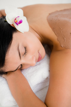 beauty treatment: Beautiful brunette enjoying a chocolate beauty treatment with flower at the health spa Stock Photo