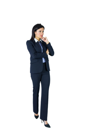 chinon: Brunette businesswoman thinking with hand on chinon white background