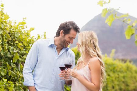 haciendo el amor: Joven pareja feliz sonriendo uno al otro en los campos de uva Foto de archivo
