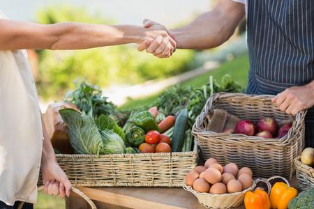 dando la mano: Cierre de vista de un agricultor y de las manos de los clientes sacudiendo