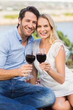 mid adult couple: Portrait of a cute couple on date holding red wine glasses