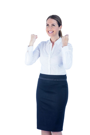 reached: Pretty happy businesswoman reached her goal against a white background