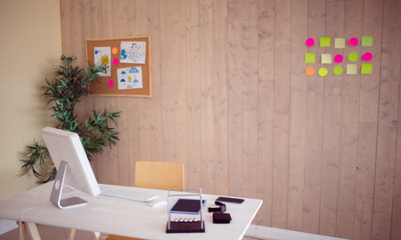 with no one: Creative office with cool wooden paneling with no one there