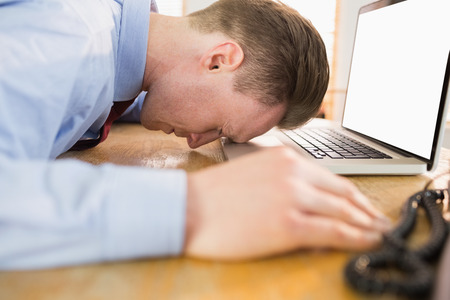 banging: Stressed businessman with head on laptop in his office