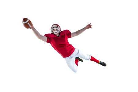 futbolista: Jugador de fútbol americano de anotar un touchdown en un fondo blanco
