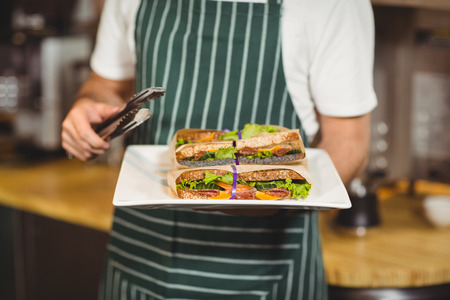 adult sandwich: Close up of waiter holding a plate of sandwiches at the coffee shop Stock Photo