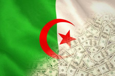 algerian flag: Pile of dollars against algerian flag