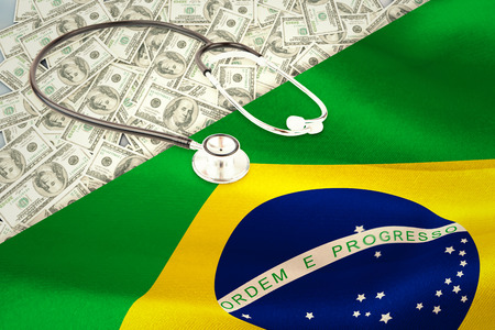 digitally generated: stethoscope against digitally generated brazil national flag Stock Photo