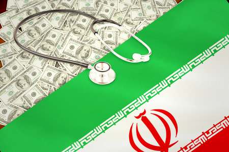 digitally generated: stethoscope against digitally generated iran national flag Stock Photo