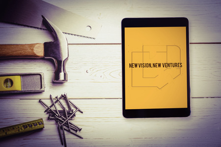 ventures: The word new vision, new  ventures and tablet pc against blueprint